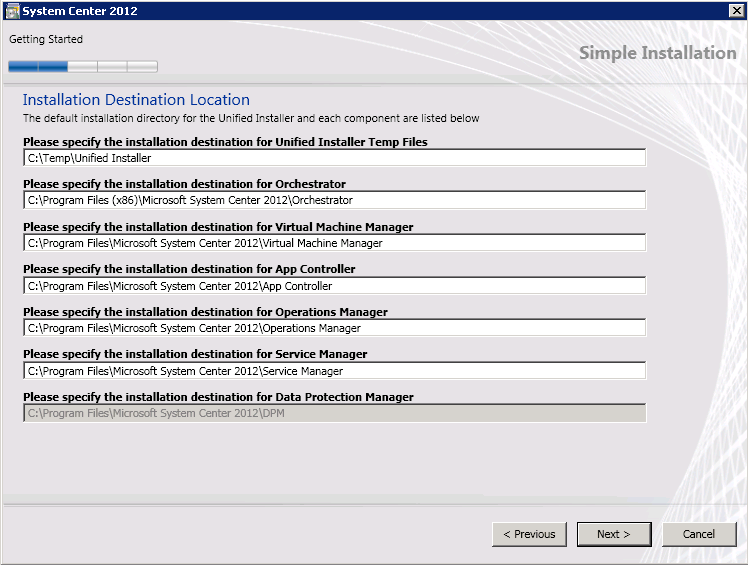 11. On the Installation Destination Location page, accept the defaults, and then select Next Due to constraints for the path name, the destination location for DPM cannot be changed. 46 12.