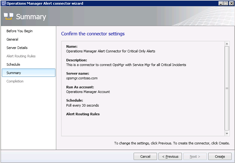 11. On the Confirm the connector settings screen, review your selections and