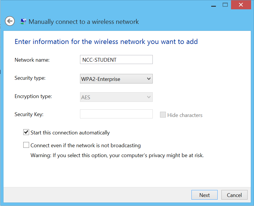 Step 4: Click on Manually connect to a wireless network.