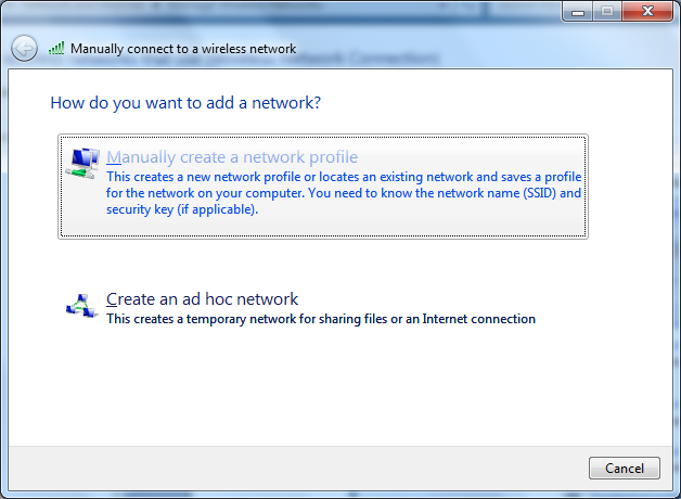 6. Select Manually Create a Network Profile 7. Add the following and this is case sensitive. a. Network name: WCC-Secure b.