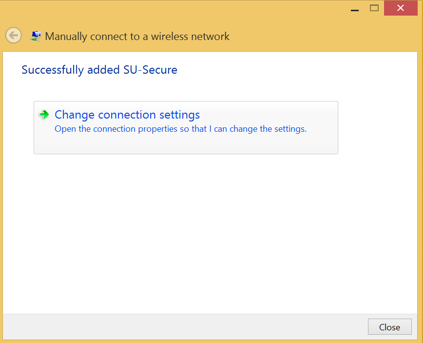 In the Manually connect to a wireless network window, for Network Name enter SU-Secure. For Security type, select WPA2- Enterprise from the drop-down.