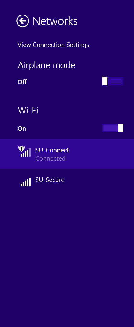 In settings, click on the Wi-Fi symbol, select SU-Connect, and