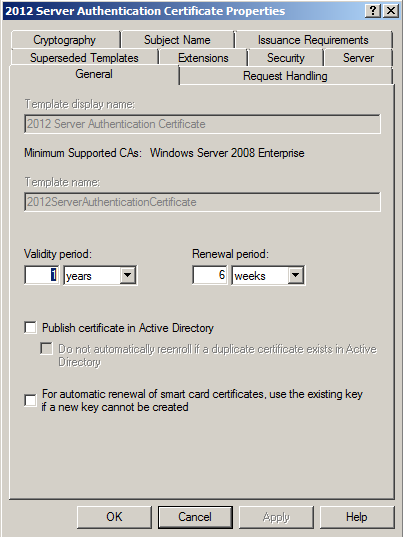 Click on the Subject Name tab, select Build from this Active Directory information.