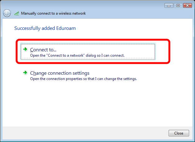"Eduroam has been successfully added Click the ""Connect to."