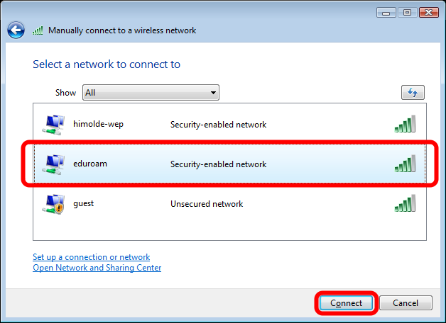 "Connecting to Eduroam Select the ""eduroam"" network, then"