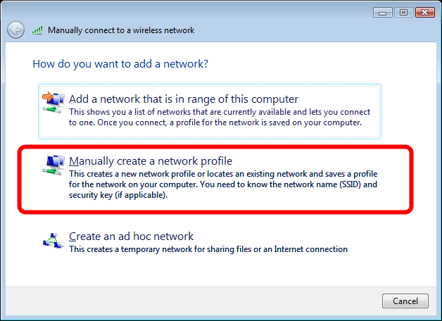 "Manage Wireless Networks Click the ""Add"" button in this window. This will bring up the window to manually connect to a wireless network."
