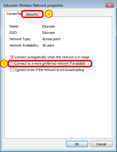 "Eduroam wireless network properties Connection tab In the ""Connection"" tab remove check on ""Connect to a more preferred network"