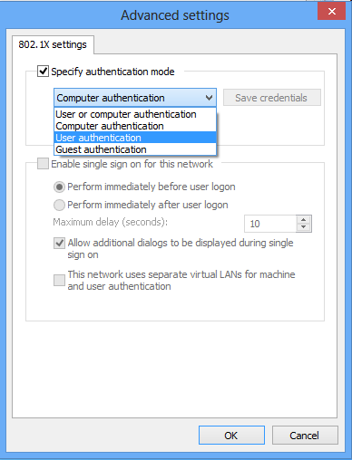 16. Next, select the following Advanced Settings settings: a. Select Specify authentication mode b. Under this setting, choose User authentication from the drop down menu. c. To complete this setup, select Save credentials.