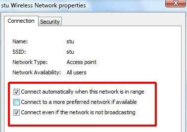 automatically when this network is in range, uncheck Connect to a more preferred network if