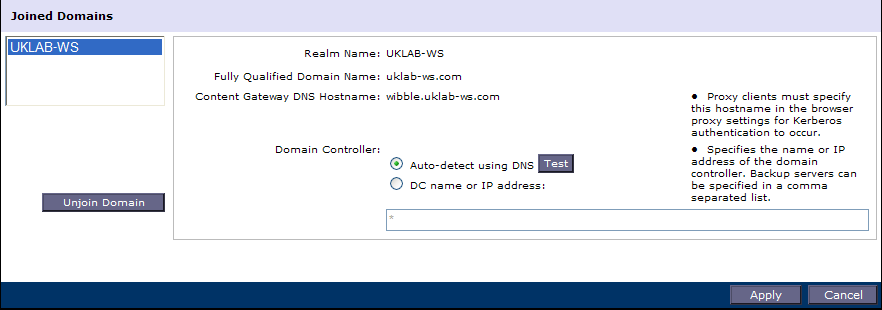Multiple Realm Authentication Content Gateway can authenticate users from multiple domains using this option Multiple realm authentication option must be