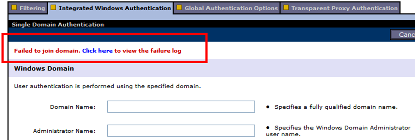 Troubleshooting IWA Failure to join domain Prerequisites not met: Content Gateway must be able to resolve the domain name Content Gateway system time must be in sync