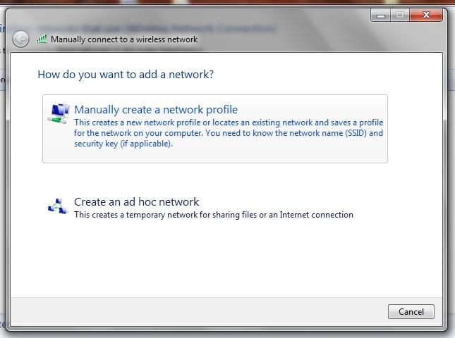 Step 4 Click Manually Create a Network Profile Step 5 NB// The Network name can either be PU WIFI or eduroam.