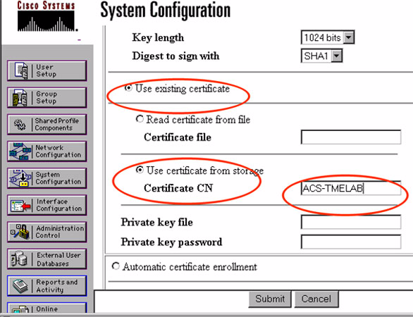 Figure 6-6 ACS System Configuration Parameters Figure 6-7 shows the required configuration for server certificate setup.