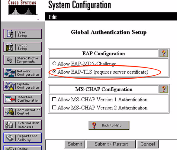 Figure 6-8 shows the global authentication setup under system administration. After enabling EAP-TLS authentication, click the Submit+Restart button for the changes to take effect.