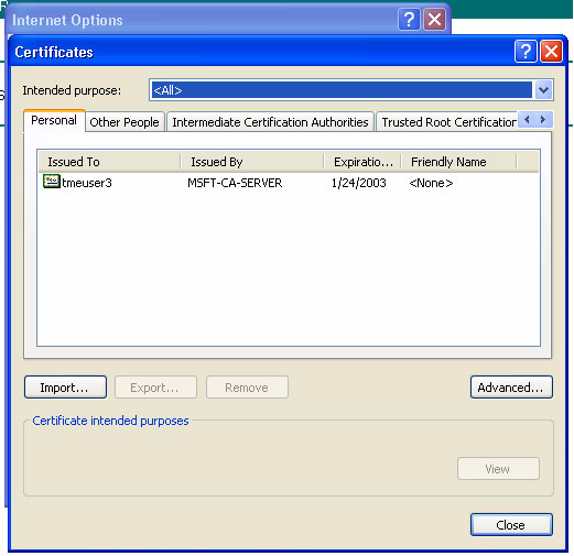 1. Using Microsoft Internet Explorer, choose Tools >> Internet Options >> Content >> Certificates; a certificate with the name of the logged-in user ID/username should be present (as shown in Figure