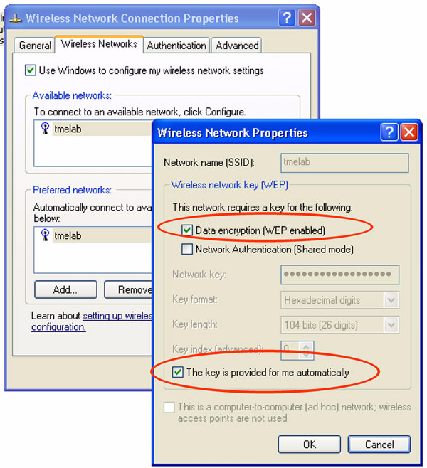 Figure 6-24 Wireless Networks Properties Configuration At the end of above configuration steps, Microsoft XP clients should be able to authenticate to the enterprise WLAN using EAP-TLS.