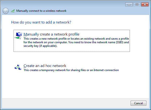 4.) Click the link to Manually create a network profile in the Manually