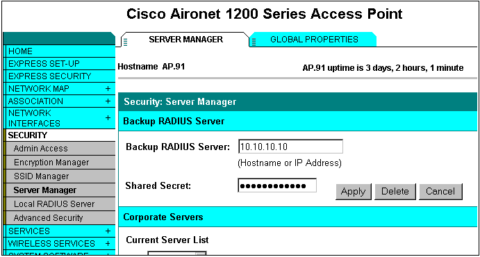 Navigate to the Server Manager of each AP on the network and enter the AP information configured for the local RADIUS server.