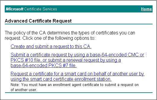 Click the link for Submit a certificate request by using a base-64-encoded CMC or PKCSA #10 file.