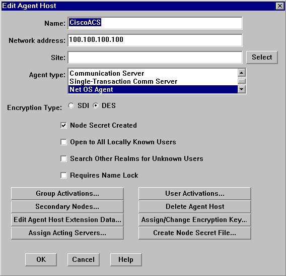 Next click Agent Host and click Add Agent Host. The agent host is the Cisco ACS server.
