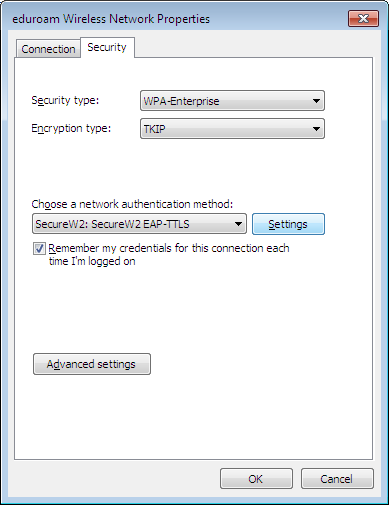 On the tap Security change network authentication method to SecureW2 and clicking on Settings brings up the set up of SecureW2 (see section 2.4 below). After this, simply choose connect to.
