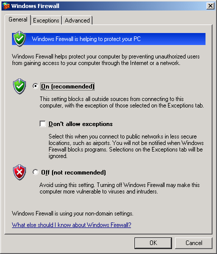5. Configuring the Windows Firewall This section refers to the firewall in Windows XP SP2. However, these settings generally apply to all other firewalls as well.