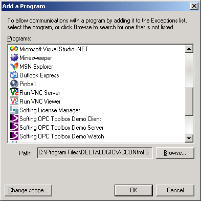 "5.2. Specify ""Exceptions"" - Select the ""Exceptions"" tab - Click ""Add Program"" - Add the following programs: o All OPC clients / OPC servers o Microsoft Management Console o ""OPCEnum."