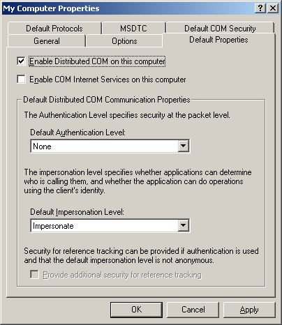 "2.3. Set ""Default Properties"" - Select the ""Default Properties"" tab - Enable Distributed COM on this computer - Default Authentication Level: None - Default Impersonation Level: Impersonate Image 4:"