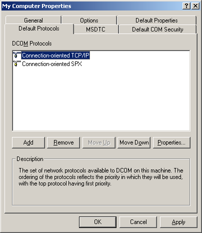 "2.4. Set ""Default Protocols"" - Select the ""Default Protocols"" tab - Check that ""Connection-oriented TCP/IP"" is in the first position Image 5: ""Default Protocols"" tab Windows checks the protocols in"