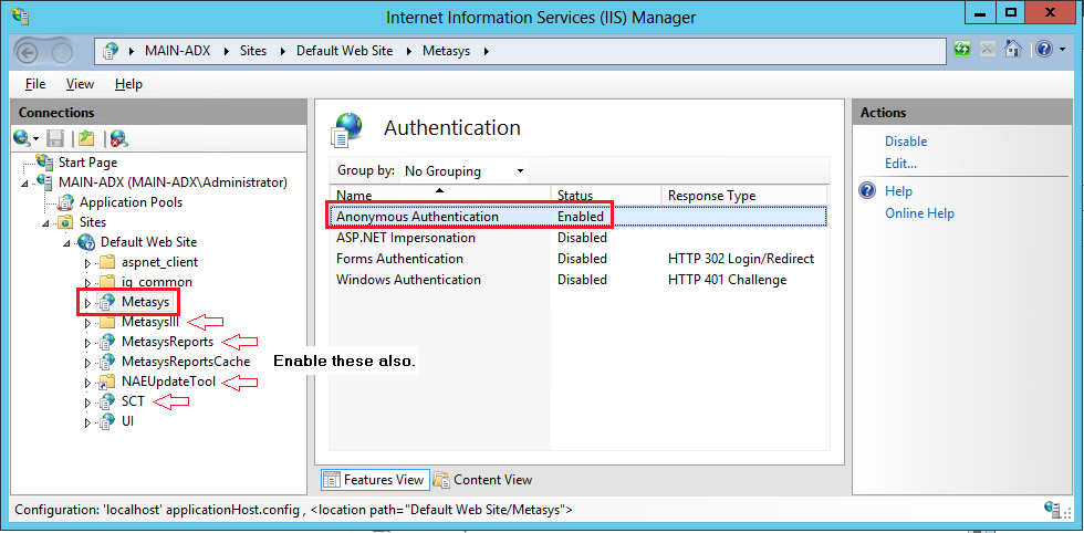 Figure 20: Authentication Options for Default Web Site 4. In the Actions pane, set Anonymous Access to Enabled. 5. Close the IIS Manager window. 6. Install the ADS/ADX/ODS or SCT software. 7.
