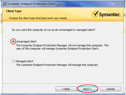 Table 26: Symantec Endpoint Protection Installation 4. Figure 44: Installation Wizard Welcome Screen Click Next. 5. Figure 45: License Agreement Screen Review and accept the license agreement.