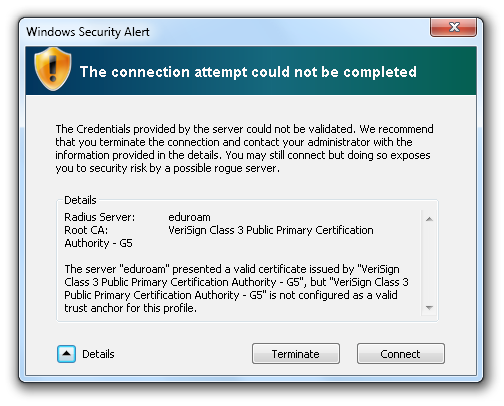 Picture 20 Delete Eduroam certificate Picture 21 Close Certificates Management Panel