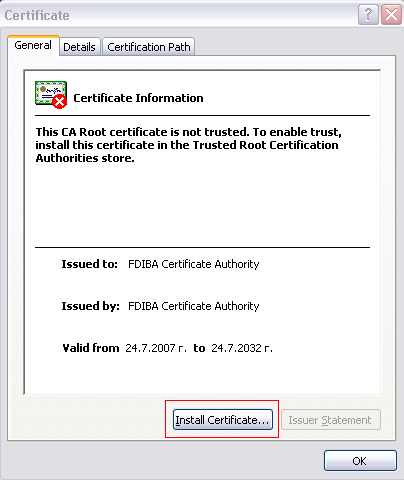 Note: You can also download the certificate outside the FDIBA network using the URL: http://fdiba10206-17.tu-sofia.bg/cert.cer 2. Copy the file FDIBA Root Certificate.