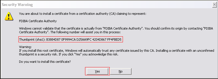 8. Verify the certificate by comparing the Thumbprint (sha1) value in the Security Window with the value shown here.