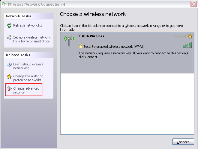 2) Configuration of the Wireless Network Properties 1. Open Network Connections, select your wireless network adapter and choose View Available Wireless Networks. The following window appears: 2.