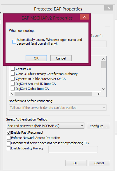 8. In the pop-up window that opens up, remove the tick next to Validate server certificate if it is checked and then click on the Configure button.