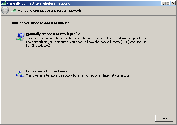 Step 7: From the Manage wireless networks screen, choose the Add