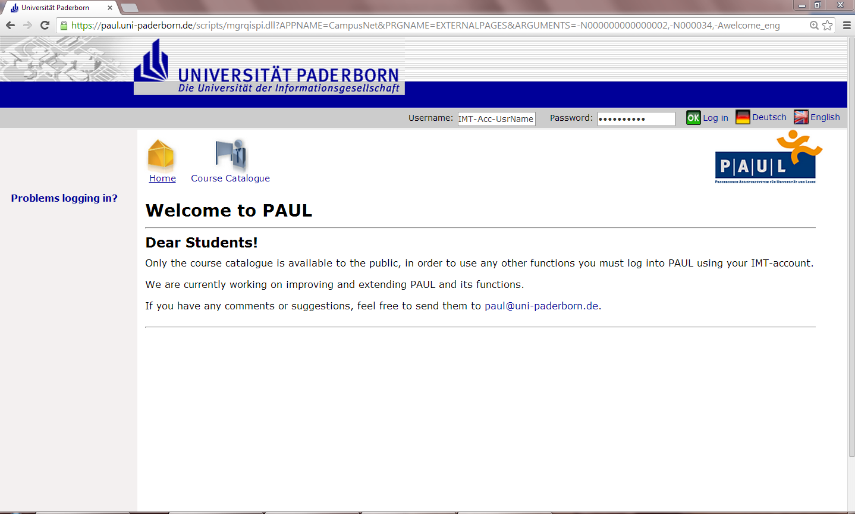 How to log into PAUL? 2.