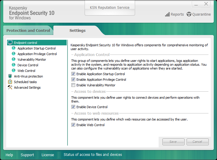 A P P L I C A T I O N I N T E R F A C E APPLICATION SETTINGS WINDOW The Kaspersky Endpoint Security settings window lets you configure overall application settings, individual components, reports and