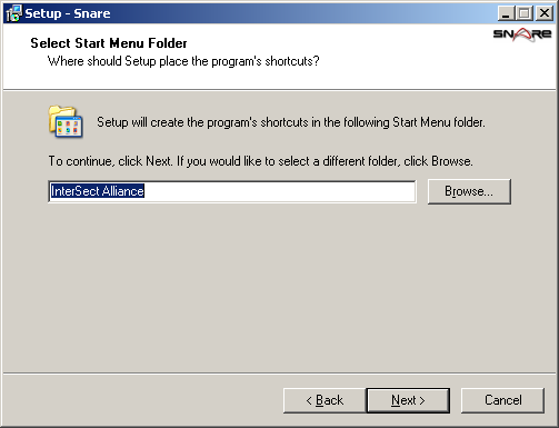 Select Destination Location This screen provides a means to select the folder where the Snare Agent will be installed. If the folder name specified does not exist, it will be created.