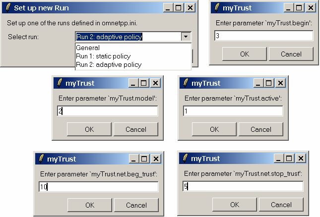 Figure B.3: Setting up simulation parameters We simulated a service provider s network interactions with 200 clients. Initial values for mytrust.beg_trust and mytrust.