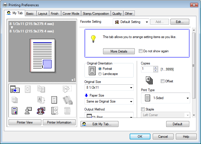 9.4 Parameter details 9 9.4 Parameter details The Printing Preferences window is the window to configure the printer driver functions.
