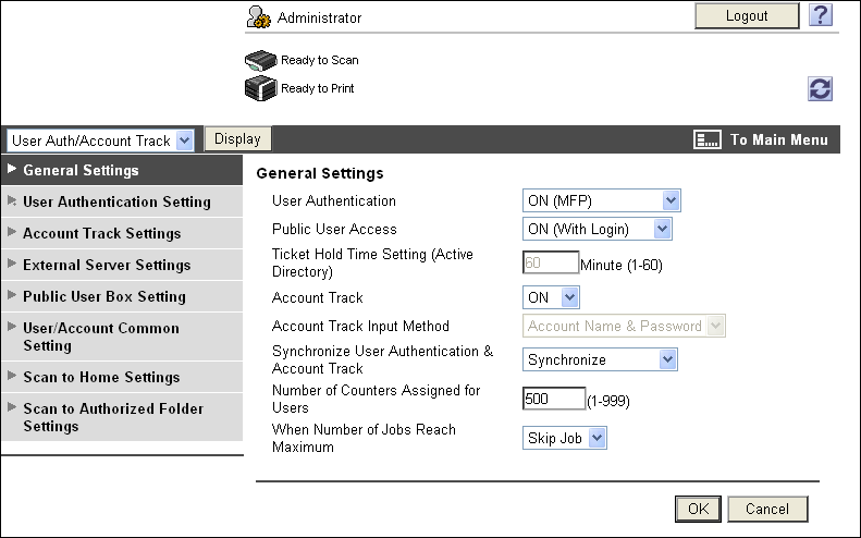 14.5 Administrator mode overview 14 14.5.4 User authentication/account track Item [General Settings] [User Authentication Setting] [Account Track Settings] [External Server Settings] [Public User Box