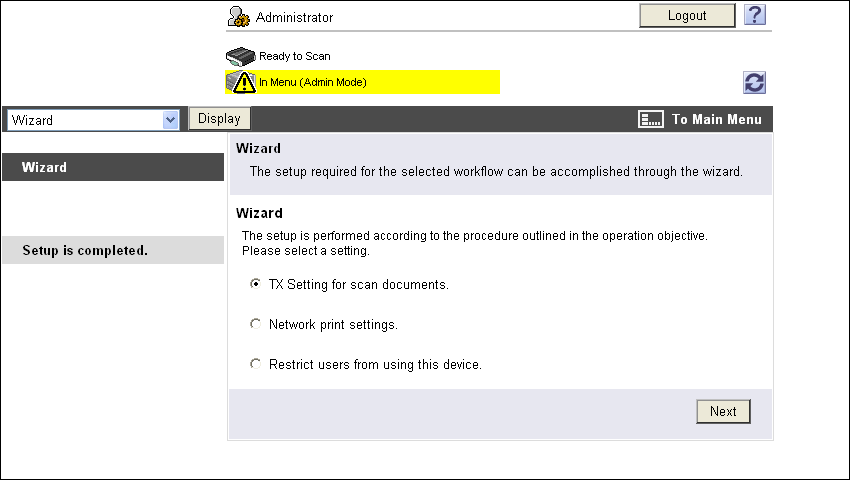 14.5 Administrator mode overview 14 14.5.10 Setting for each purpose Configure the settings according to the instructions shown in the window for items requiring multiple settings.