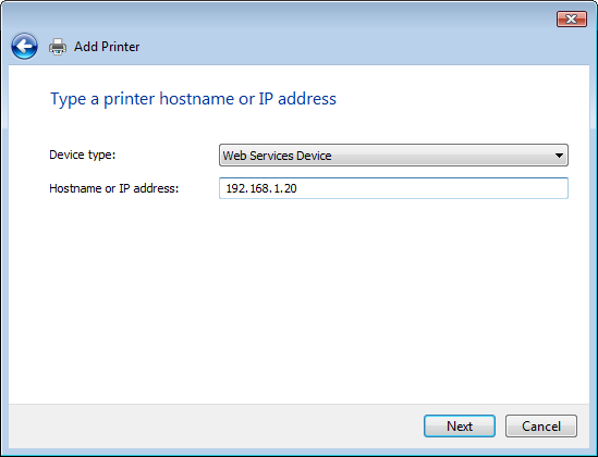 5.1 Windows Vista/Server 2008 5 7 Click [Add a local printer]. The page for [Choose a printer port] appears. 8 Click [Create a new port:], and then select the port type.