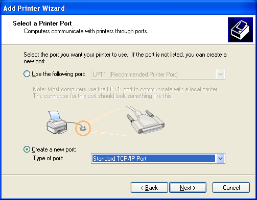 5.2 Windows XP/Server 2003 5 In Windows Server 2003: The [Add Printer Wizard] appears. 4 Click [Next >]. 5 Select [Local printer attached to this computer], and then click [Next >].