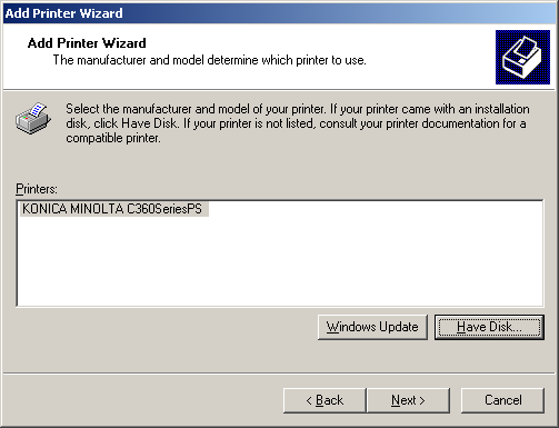 5.3 Windows 2000 5 9 In the [Printer Name or IP Address:] box, enter the IP address for the machine, and then click [Next >].