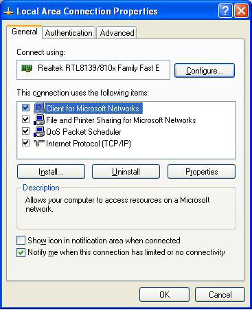Step 4: Double-click Internet protocol (TCP/IP) from the This connection uses the following items list in the center of the window(see preceding figure).