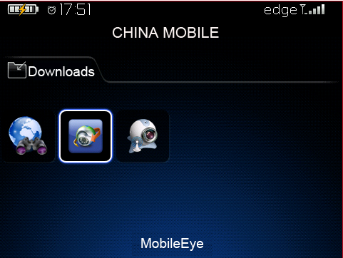 1 Main System Interface After the installation, touch the MobileEye icon in the application (as in the following illustration).