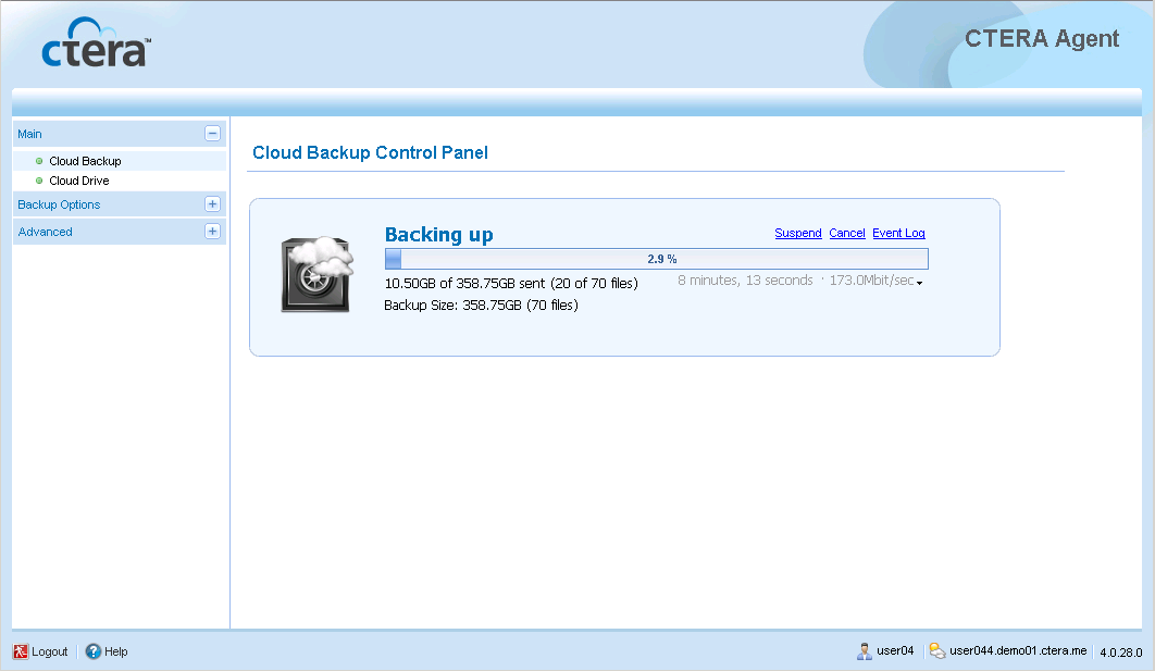 3 Backing Up and Restoring SQL Server Databases Using CTERA Agent in Cloud Mode The Backup Applications page appears.